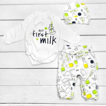 Комплект (шапочка + боди + ползунки) Milk Желтый Интерлок для новорожденных в роддом