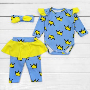 Комплект (повязка + боди + штаны) Интерлок Корона 62 68 74 80 размер для малышей