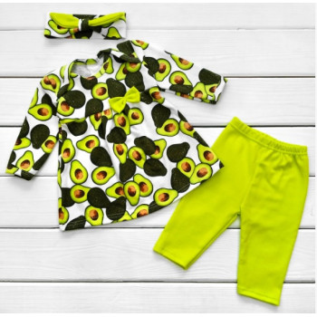 Комплект одежды Авокадо Интерлок 62 68 74 80 размеры для девочек