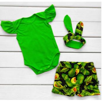 Летний комплект одежды Авокадо Кулир Размер  86 Зеленый для девочек