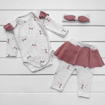 Комплект одежды 68 размер для девочки: повязка, боди и штаны (интерлок) Зайка
