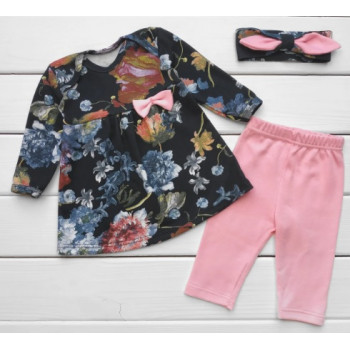 Набор одежды на девочку - платье, штаны, повязка