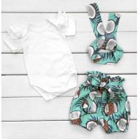 Летний комплект одежды Кокосик Кулир Размеры 80 Бело-голубой для девочек