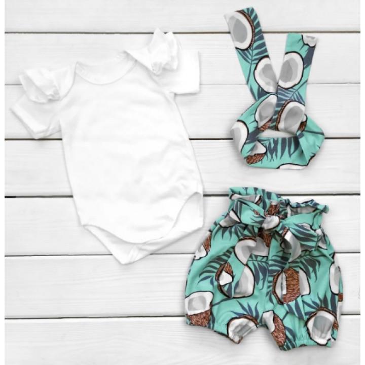 Летний комплект одежды Кокосик Кулир Бело-голубой для девочек