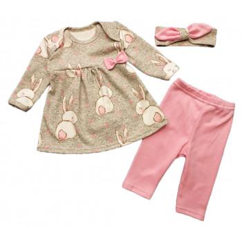 Комплект одежды для девочек: повязка на голову, кофта и штанишки Кролик