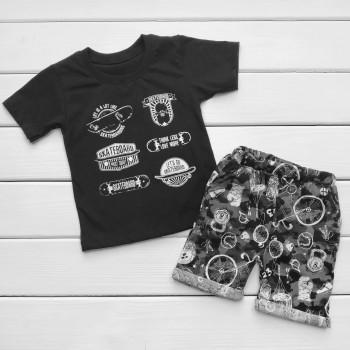 Черная футболка с шортами на мальчика Скейт 110 122 128 размеры