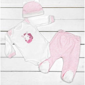 Комплект одежды Зебра Интерлок Розовый 62 74 68 размеры для девочек