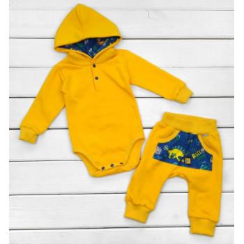 Костюм (боди с капюшоном + штаны) Футер 74 86 размер Оранжевый для малышей