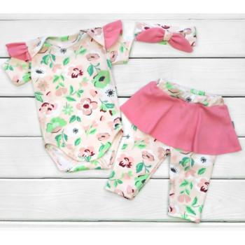 Летний набор одежды Маки Интерлок 68 размеры для девочек