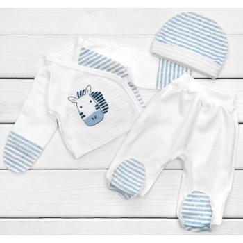 Набор одежды в роддом Интерлок Молочный с голубым для новорожденных мальчиков