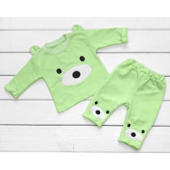 Теплый из футера салатовый комплект одежды 68 74 80 размеры для малышей Мишка