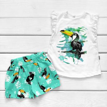Комплект детской одежды Тукан: футболка и шорты для девочек