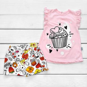Летний комплект детской одежды: футболка и шорты для девочек