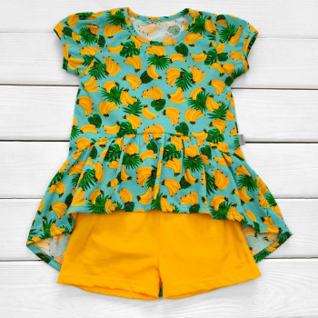 Комплект детской одежды Бананы: туника и шорты для девочек