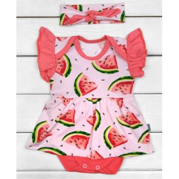 Боди платье с повязкой Кулир 68 74 80 86 Розовый для девочек
