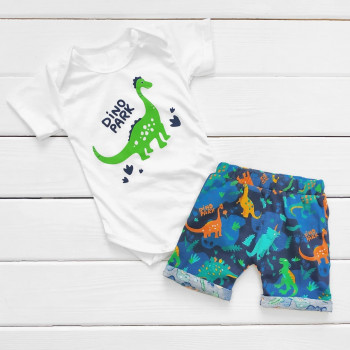 Комплект одежды на лето 74 80 86 размеры для мальчиков Дино Парк