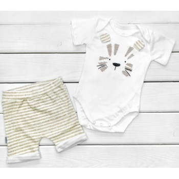 Летний комплект одежды Лева Кулир 68 74 80 86 размеры для малышей