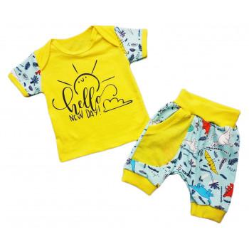 Летний желтый комплект 98 размера: детская футболка и шорты с карманом Hello New Day