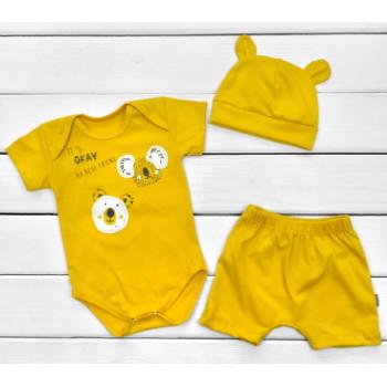 Летний набор одежды Кулир Горчичный 68 86 размеры для малышей
