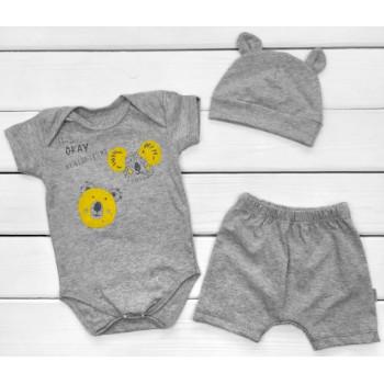 Летний комплект одежды Кулир Серый 68 86 размеры для малышей