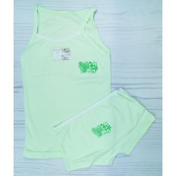 """Детский комплект майка и шортики 128 размера салатового цвета """"Summer"""""""