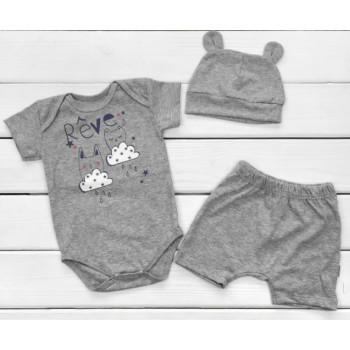 Летний набор одежды Кулир Серый 74 80 86 для малышей