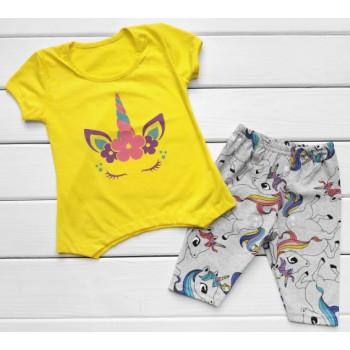 Летний набор (футболка + лосины) Кулир 80 92 116 размеры для девочек