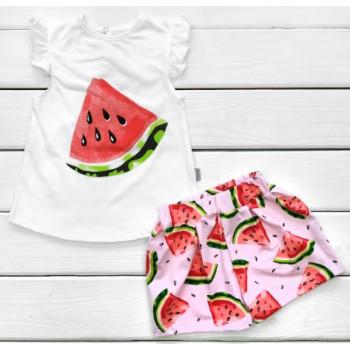 Летний комплект Арбузик Бело-розовый Кулир 86 98 110 122 размеры для девочек