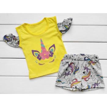 Летний комплект (футболка + шорты) Единорожек 80 86 98 размеры для девочек