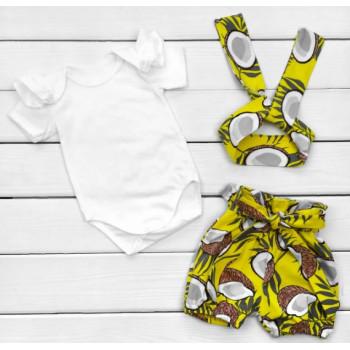 Летний комплект одежды Кокосик Кулир 80 86 размеры для девочек