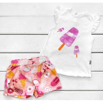 Летний комплект Мороженка Кулир 86 98 110 размеры для девочек