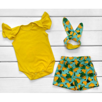 Летний набор одежды Бананы Кулир 68 74 80 86 размеры для девочек
