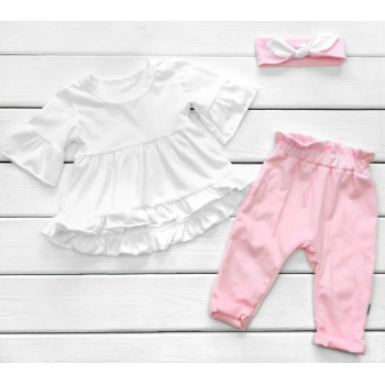 Летний набор одежды Кулир 80 86 Розовый+Белый для девочек