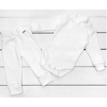 Молочный комплект детской одежды из ткани рубчик начес