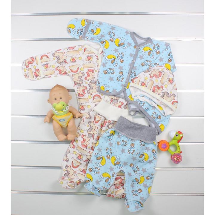 Байковые комплекты из 3-х предметов в роддом для новорожденных