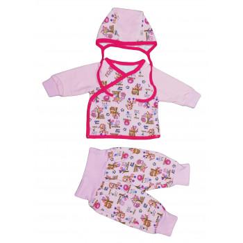 Теплый розовый набор одежды 62 размера на девочку от 1 месяца