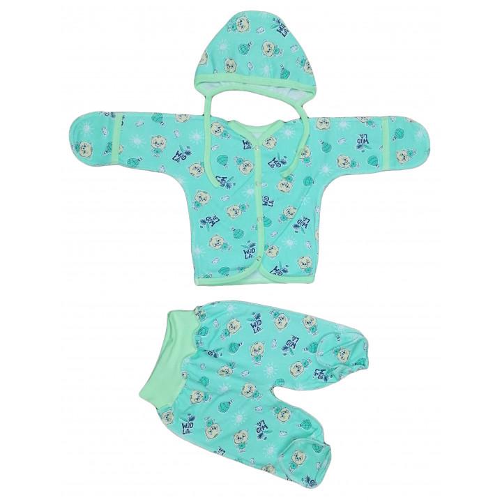Байковый бирюзовый набор одежды 56 размера в роддом для новорожденных
