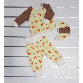 Комплект одежды 62 размеры ткань с начесом для малышей Лисичка