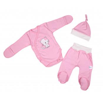 Комплект одежды Розовый Интерлок для новорожденной девочке в роддом