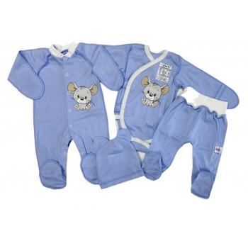 Набор одежды 4 предмета Голубой для новорожденных мальчиков в роддом