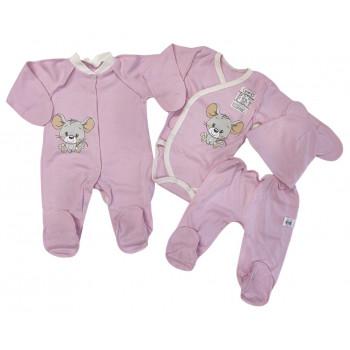 Набор одежды 4 предмета Розовый для новорожденных девочек в роддом