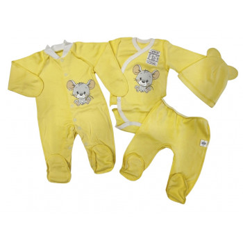 Набор одежды 4 предмета Желтый для новорожденных в роддом