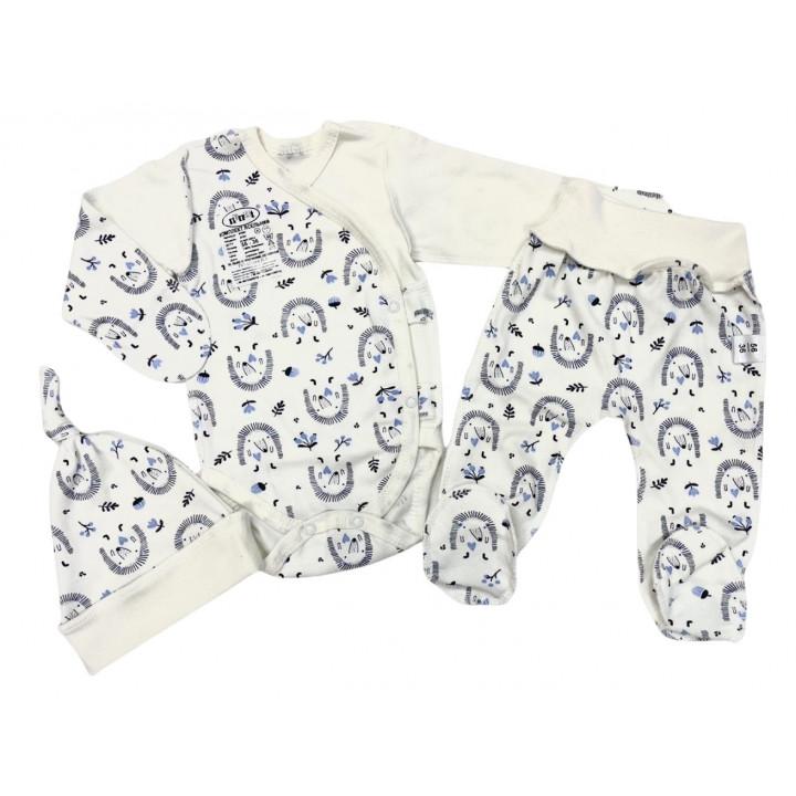 Набор одежды для новорожденных мальчиков в роддом: шапочка, боди и ползунки