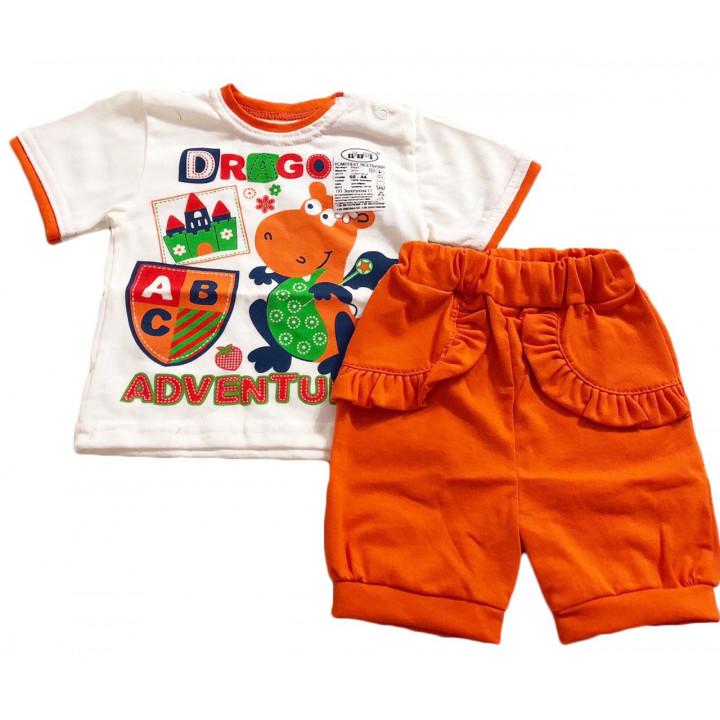 """Летний комплект одежды для девочек """"Дракончик"""" ткань кулир Размеры: 74 80"""