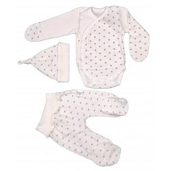 Набор: боди, ползунки и шапочка из интерлока для новорожденных