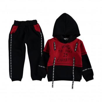 """Теплый красно черный комплект одежды """"Скала"""" для мальчиков"""