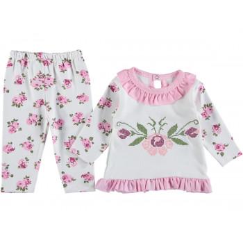 Тонкий комплект одежды Цветы 74 80 размеры на девочку 6-9-12 месяцев