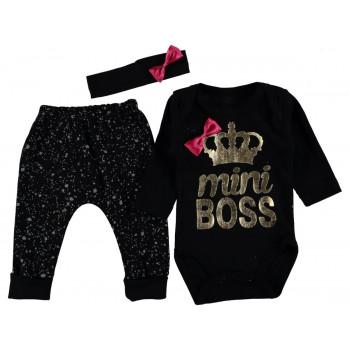 Комплект (повязка+боди+штаны) Mini Boss Черный 62 68 размеры для девочек