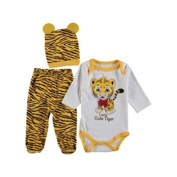 Комплект (шапочка+боди+ползунки) Тигр Молочно-желтый 62 68 размеры для малышей