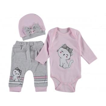 Комплект (шапочка+боди+штаны) Котик Розовый 62 68 74 размеры для девочек до года
